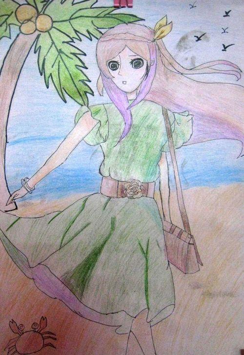 《海边的女孩》/少儿绘画作品/儿童画/网络美术