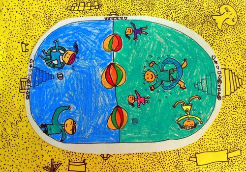 我学会游泳啦 少儿绘画作品 儿童画 网络美