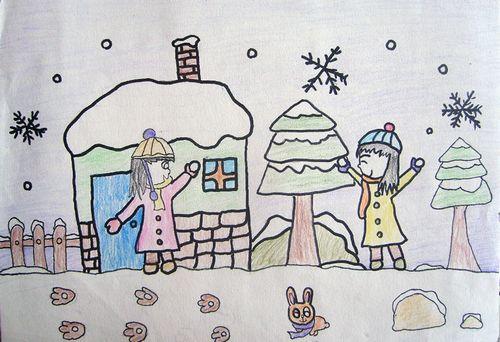 冬天打雪仗简笔画_打雪仗简笔画图片冬季简笔画14