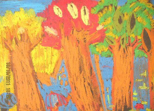 幼儿画秋天的景色 幼儿画春天的景色 幼儿画秋天-儿童画秋天景色图片