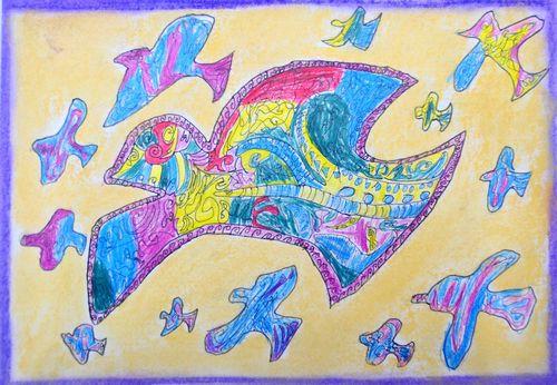 和平信鸽 少儿绘画作品 儿童画 网络美术馆