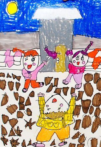 中秋节 少儿绘画作品 儿童画 网络美术馆-中秋节儿童绘画图片