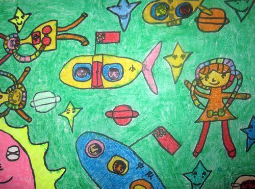 宇宙太空儿童画_宇宙太空简笔画_宇宙太空科幻画 ...