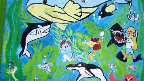 鲨鱼.海底世界.简笔画
