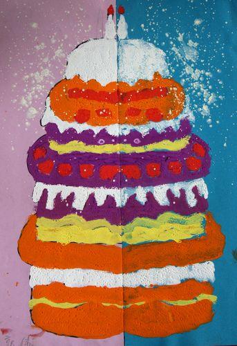 绘画作品:《生日蛋糕》苗苗创特幼儿园&图片