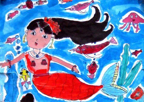 《美人鱼》/少儿绘画作品/儿童画/网络美术馆