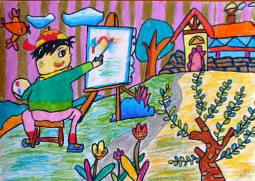 爱画画的小男孩 少儿绘画作品 儿童画 网络美术馆