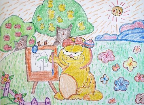 爱画画的咖啡猫 少儿绘画作品 儿童画 网络美术馆