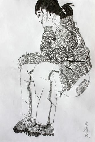 人物速写 少儿绘画作品 儿童画 网络美术馆