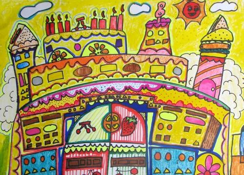 蛋糕城堡/少儿绘画作品/儿童画/网络美术馆
