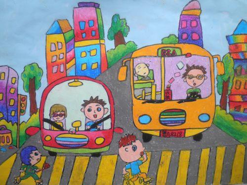 文明交通 从小遵守 交通 安全 少儿绘画 大赛 作品