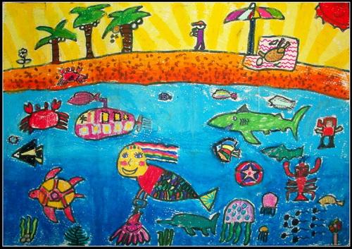 《天堂美人鱼》/少儿绘画作品/儿童画/网络美术馆