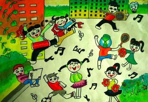 儿童画我的校园_