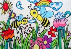 儿童画蜜蜂图片 儿童画秋天丰收画 图,油画棒儿童画范画 图
