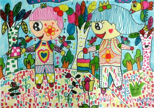 春天的景色_春天的畫兒童畫_兒童畫春天的圖畫_關