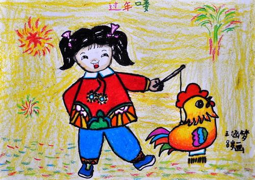 春节国画儿童画作品 儿童画春节简笔画图片