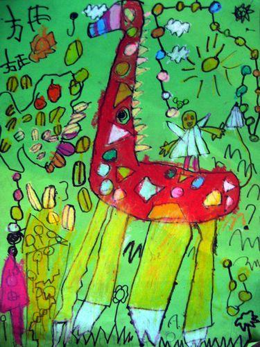 画作品 儿童画 网络美术馆   彩铅手绘画小人彩铅速写油画水
