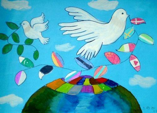 和平的世界 少儿绘画作品 儿童画 网络美术