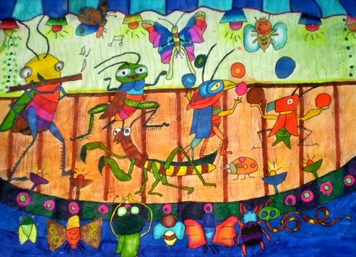 《昆虫音乐会》/少儿绘画作品/儿童画/网络美术馆