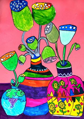 简笔画 花瓶/插莲蓬的花瓶(一)/少儿绘画作品/儿童画/网络美