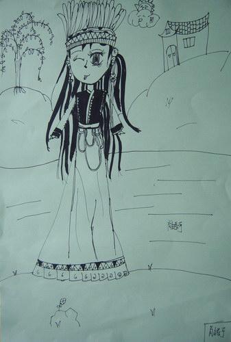 散步的姑娘 少儿绘画作品 儿童画 网络美术馆