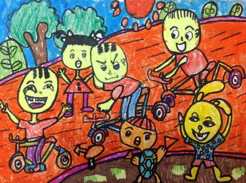 自行车比赛/少儿绘画作品/儿童画/网络美术馆