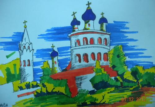风景速写 少儿绘画作品 儿童画 网络美术馆