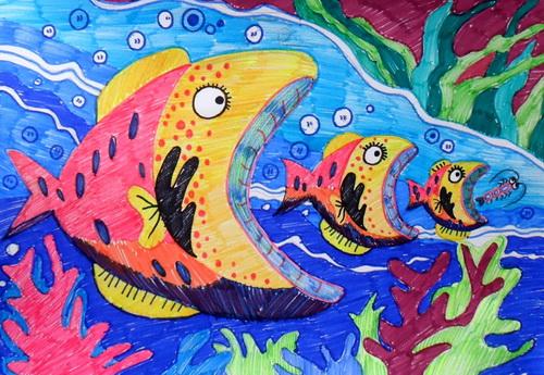 群鱼吃大鱼图片,小鱼吃大鱼漫画_幼儿简笔画小鱼图片图片_幼儿简笔画小鱼图片图片下载