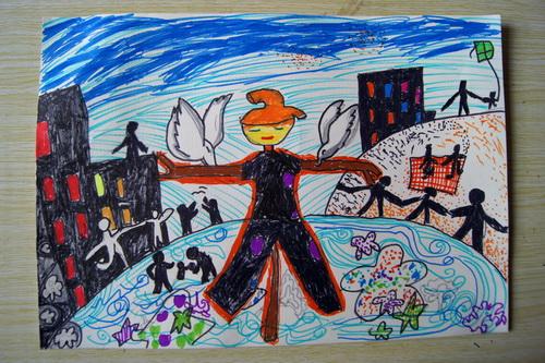 和平家园 少儿绘画作品 儿童画 网络美术馆