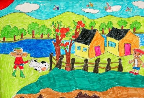 美丽的家乡/少儿绘画作品/儿童画/网络美术馆