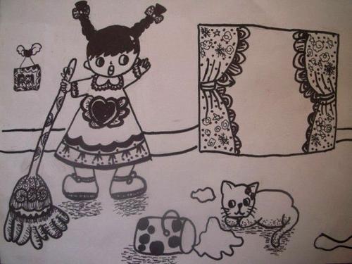 我帮妈妈做家务 少儿绘画作品 儿童画 网络美术馆