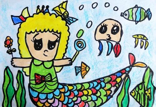 美人鱼公主/少儿绘画作品/儿童画/网络美术馆