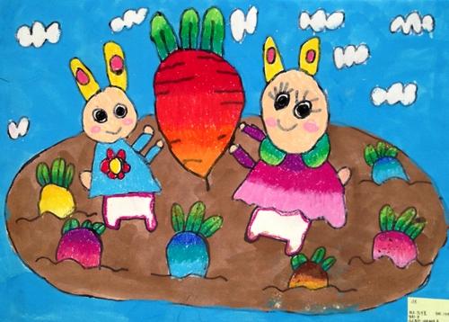 小兔子种萝卜/少儿绘画作品/儿童画/网络美术馆