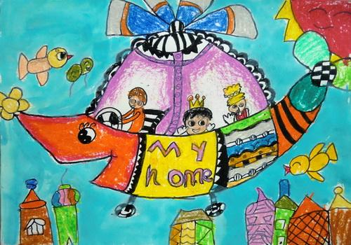 美术作品小猫钓鱼_神奇的直升机/少儿绘画作品/儿童画/网络美术馆_中国少儿美术 ...